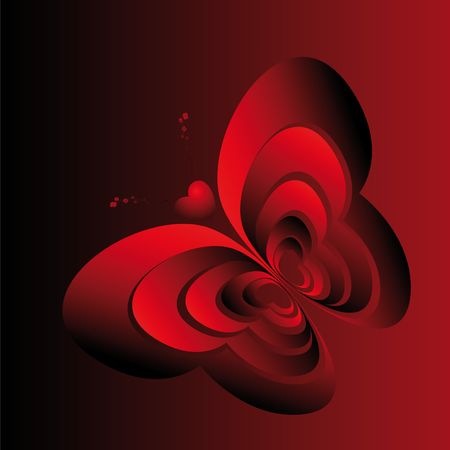 Abstract image butterfly made in red hearts Stock Photo