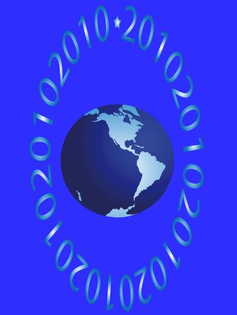 hemisphere: The western hemisphere and figures on blue background