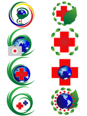 christcross: Collection of drawings on medical theme on white background
