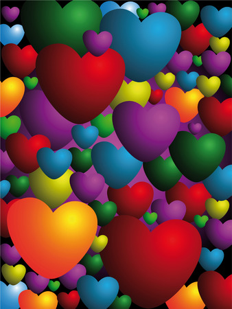 background made of many colored hearts