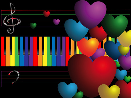 Color keys and heart on black background