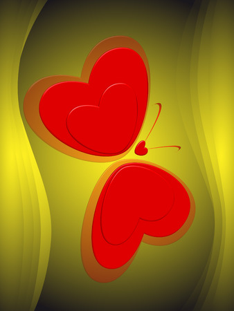 Green background and butterfly made of red hearts