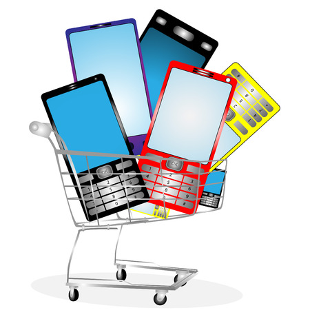 retail display: Collection of mobile phones on white background in the card