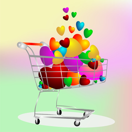 It is a lot color hearts in the cart on the color background