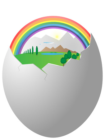 mountin: The abstract image of terrestrial landscape in egg shell Illustration