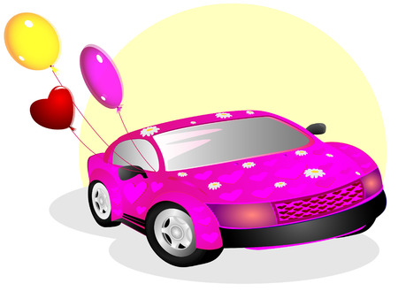 The pink car with drawings of hearts and flower and also balloons on light background Stock Vector - 6322624