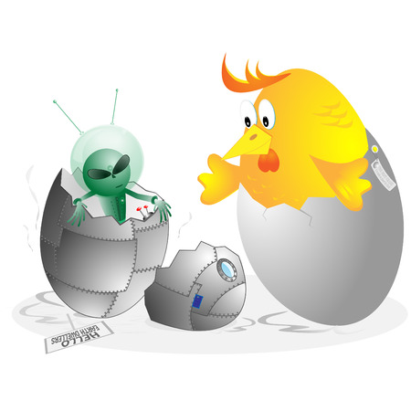The visitor from other planet and chicken in egg shell on white background Illustration