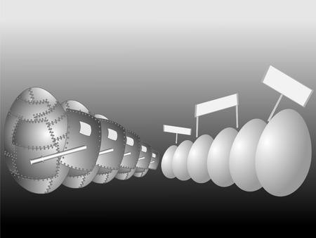 反対: 通常卵とスチール製の卵の反対のイメージを抽象化します。  イラスト・ベクター素材