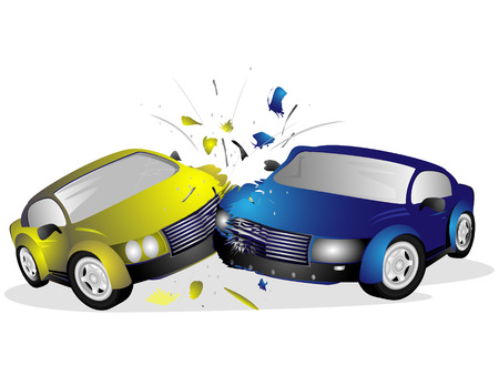 Two injured after a car accident on a white background Illustration