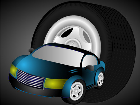 cowl: The color car and automobile wheel of the big size against a dark background Illustration