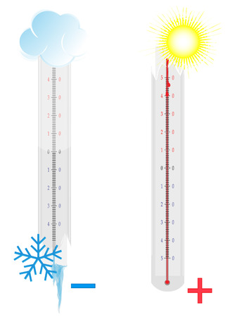 high scale: Two broken thermometers on white background Illustration