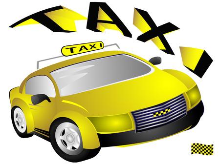 El coche de taxi amarillo y el texto sobre fondo blanco