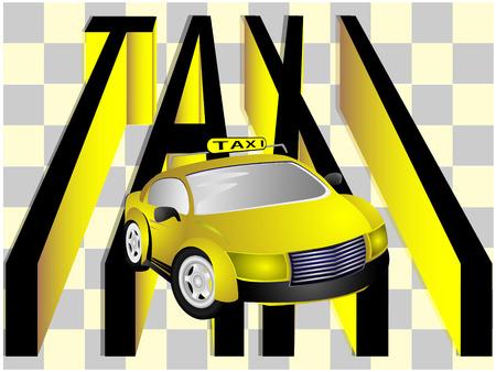 Coche moderno taxi y texto sobre fondo claro