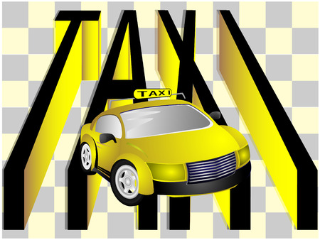 cowl: Modern car taxi and text on light background Illustration