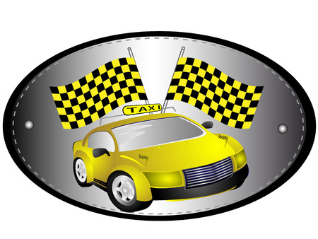 cowl: Car taxis are yellow on the background of the oval grey and flags