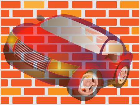 cowl: Car drawing on brick wall Illustration