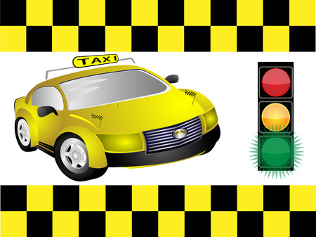 City car-taxi and traffic lights Vector