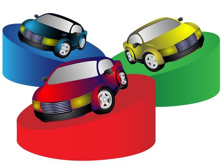 cowl: Collection from three cars of miscellaneous color on white background Stock Photo