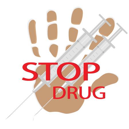 medical syringes: Stampa di Palma, il testo e due medici siringhe sul puro bacground Vettoriali