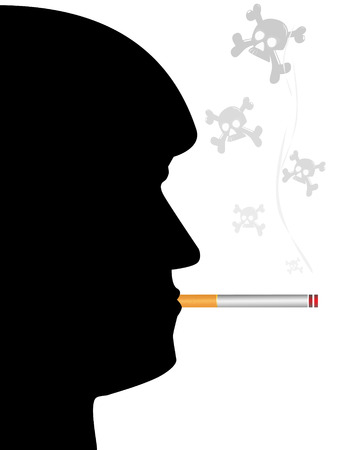 The face man with a cigarette and skull on pure background