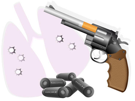 dangerously: Revolver made of cigarette and cartridges with inscription