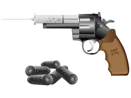 Drugs,syringe and revolver on a white background Vector
