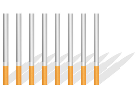 in the shade: Cigarettes and shade on pure background Illustration