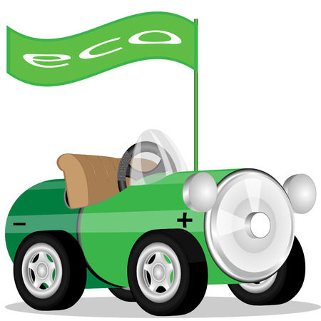 The car made of a storage battery and flag