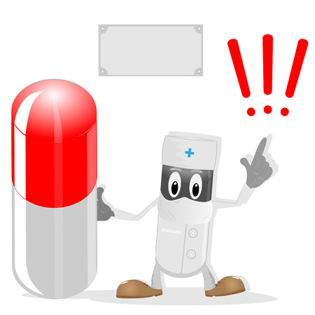 doctor with pills: The doctor,pills and exclamation mark on pure background