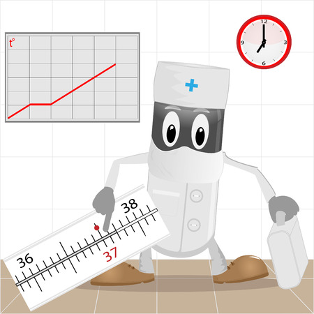 flu prevention: The doctor and thermometer  Illustration