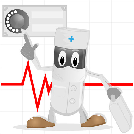 firstaid: The doctor with the first-aid set rendering of theurgent medical  help Illustration