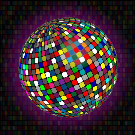 luminescence: Sphere made of small squares of different colour on a dark colour background Stock Photo