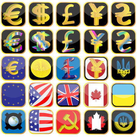 Symbols of currencies and flag of the different countries made in the form of icons Stock Vector - 6704053