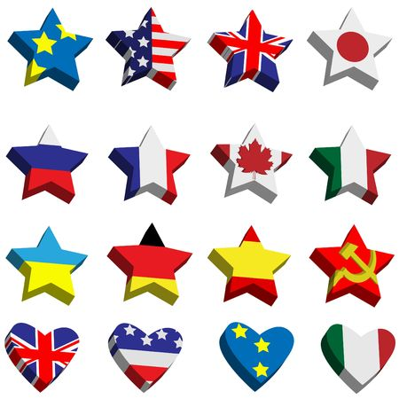 Collection of flags the countries in the form of stars and hearts Vector