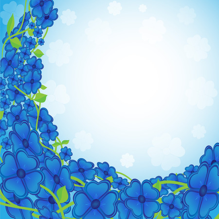 an inflorescence: Flowers of blue color located in the form of a semicircle on a light background