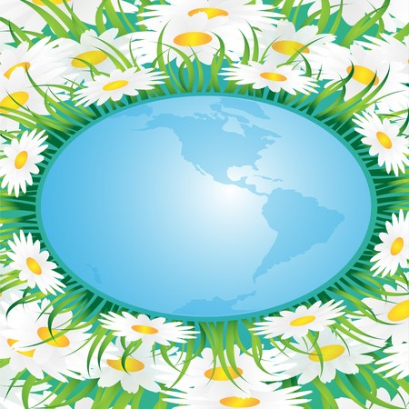 Abstract background made of chamomiles,a grass and globe Stock Vector - 6992809