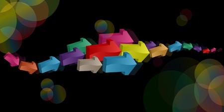 small size: Las flechas de color y confeti sobre los diversos tama�os ca�ticamente ubicado sobre un fondo negro