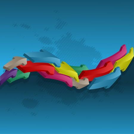 small size: Las flechas de la forma abstracta contra una superficie plana con manchas de color  Vectores