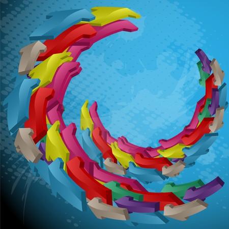 small size: Flechas de color ejecutadas en forma de un anillo de la mitad en un fondo abstracto azul