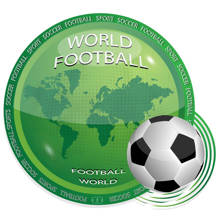 Football and green icon with the image of a map of the world on white background