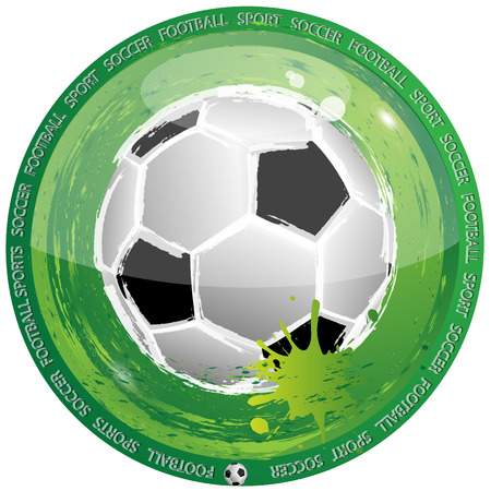 patch of light: Green icon of the round form with located the centre football Illustration