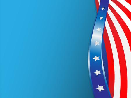 Vlag van de Verenigde staten uitgevoerd in de vorm van vloeiende lijnen op blauwe achtergrond  Vector Illustratie