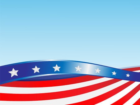 Ribbons flag USA on a blue background
