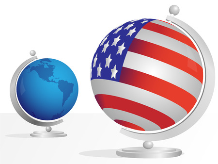 Globe made from flag USA on light background Stock Vector - 7266374