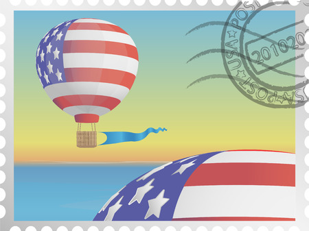 aeronautics: Stamp with the image of a balloon ornamented under a flag of the USA