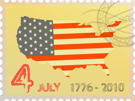 declaration of independence: Map of the USA with national color and date