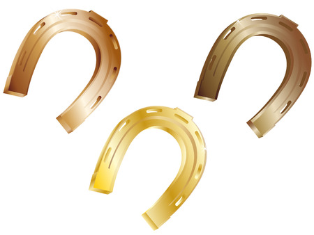hoofs: Three horseshoes from precious metals on a white background