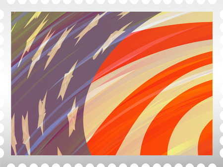 philately: Flag USA and abstract background on grey stamp