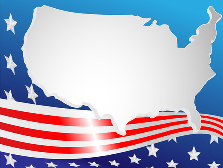 Background made of a flag and map USA