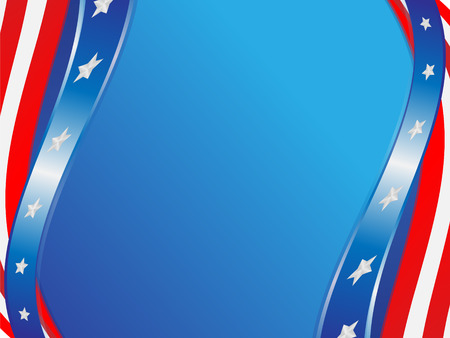 Color ribbons from flag USA on a blue background